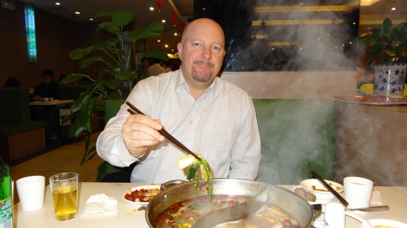 Hubby Coy chowing down on some Hot Pot!